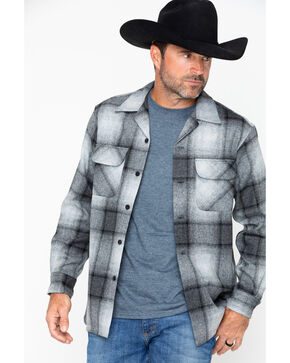 Pendleton Men's Original Board Flannel Shirt Jacket, Grey, hi-res