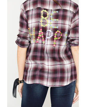 Miss Me Women's Purple Be Happy Plaid Shirt , Purple, hi-res