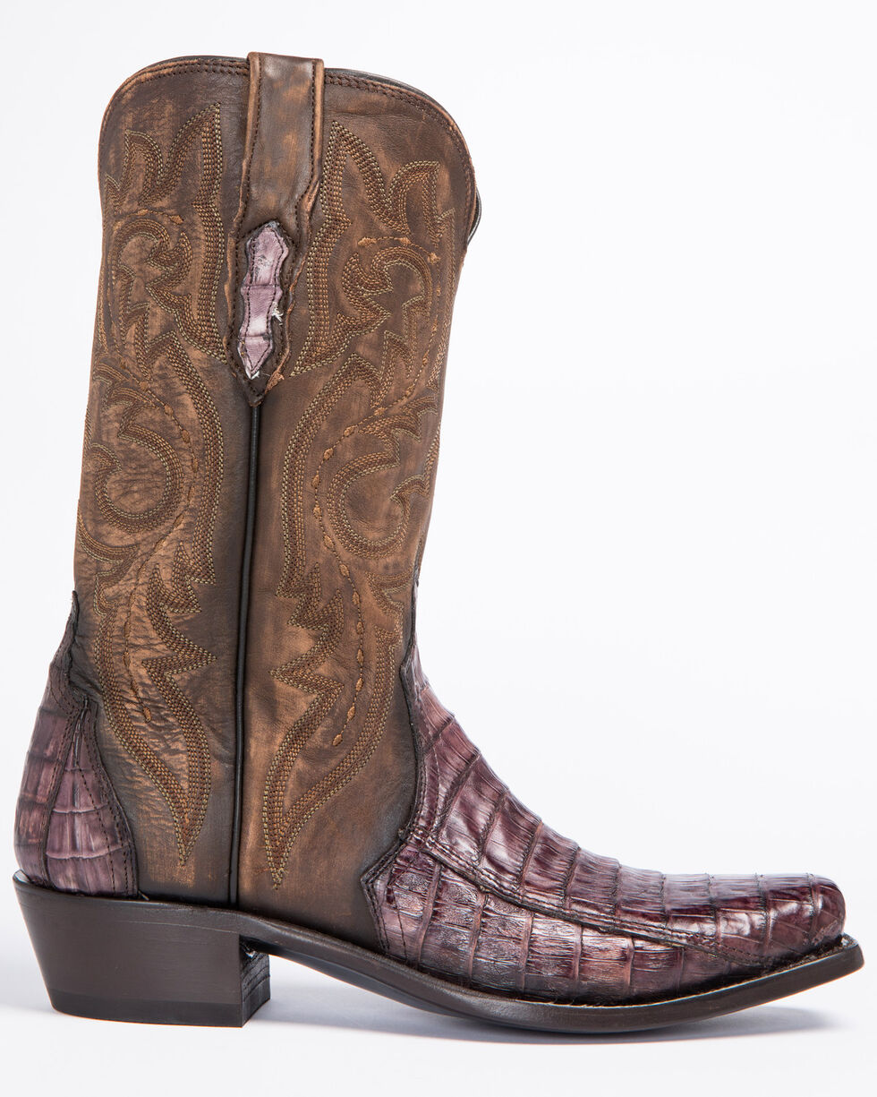 Lucchese Handmade Maple Dwight Caiman Cowboy Boots - Square Toe  , Light Brown, hi-res
