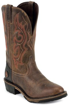 Justin Hybred Western Work Boots - Round Toe, Rugged, hi-res