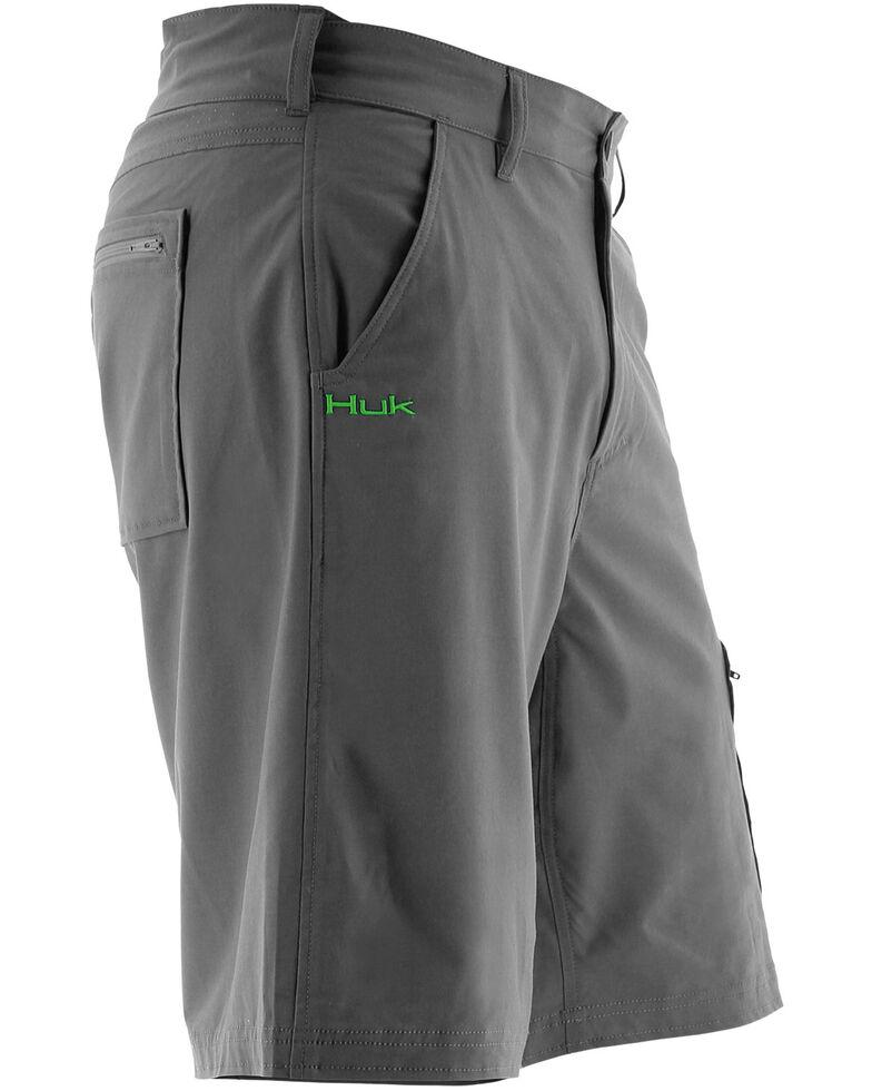 Huk Performance Fishing Men's Next Level Shorts , Charcoal Grey, hi-res