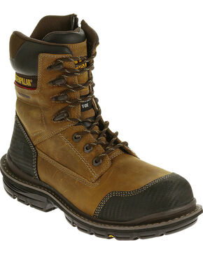"Caterpillar Men's Fabricate 8"" Tough Waterproof Boots - Composite Toe, Brown, hi-res"
