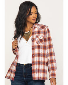 Cotton & Rye Outfitters Women's Rust Ikat Plaid Lurex Flannel Top, Rust Copper, hi-res