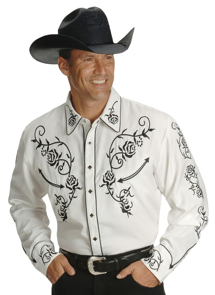 Scully Floral Embroidered Vintage Western Shirt - Big & Tall, White, hi-res