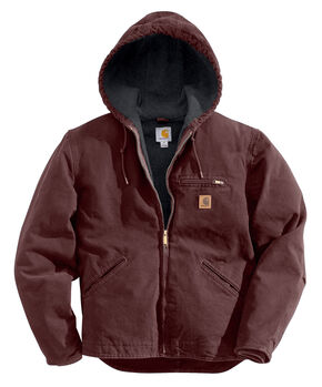 Carhartt Men's Black Cotton Duck Lined Jacket, Wine, hi-res