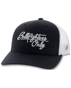 HOOey Men's Black & White Bull Fighters Only Embroidered Mesh-Back Trucker Cap , Black, hi-res