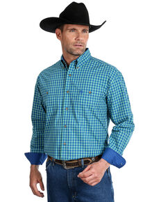 George Strait by Wrangler Men's Royal Blue Check Plaid Long Sleeve Western Shirt - Tall, Royal Blue, hi-res
