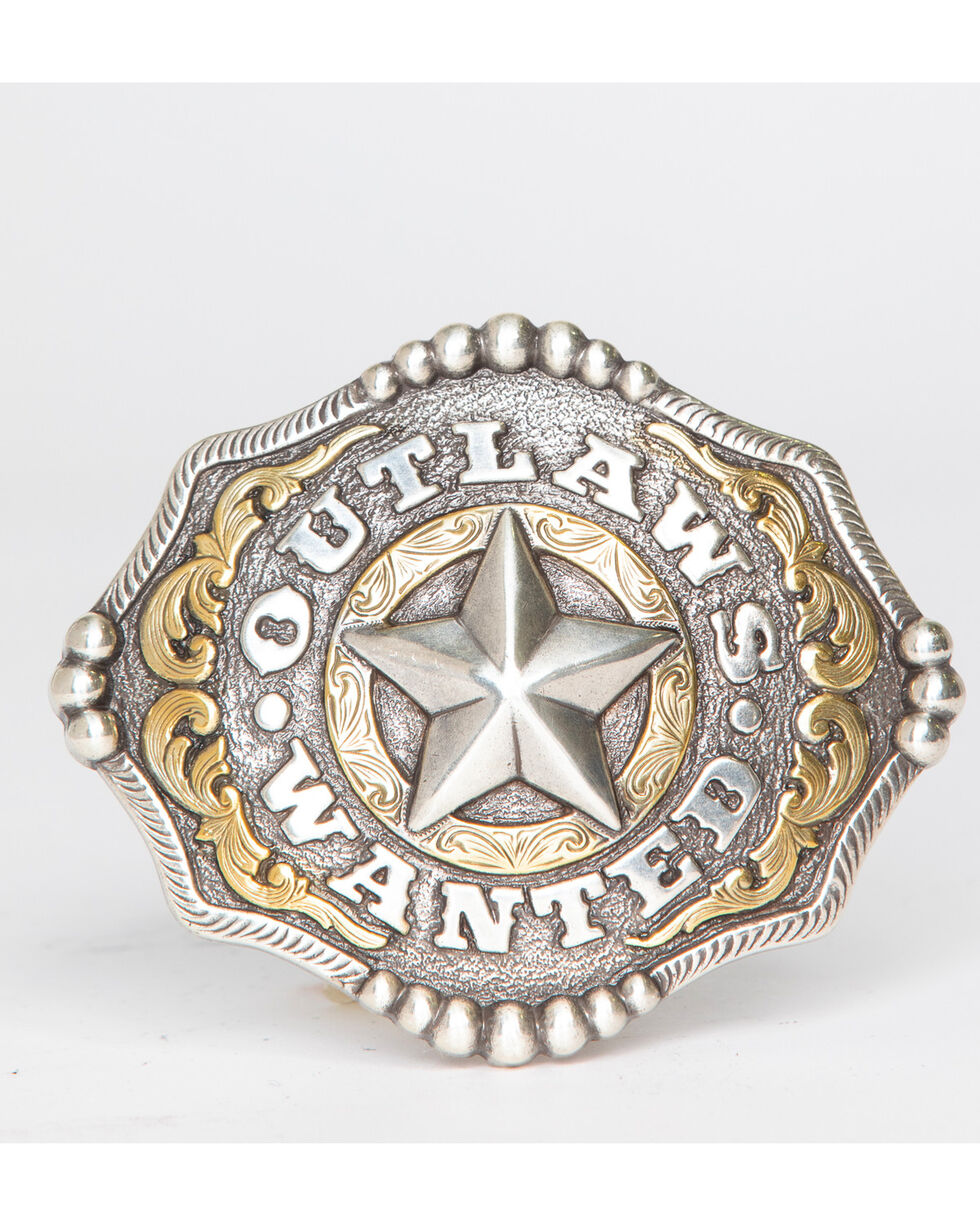 Cody James Men's Two Tone Outlaws Wanted Belt Buckle, Silver, hi-res