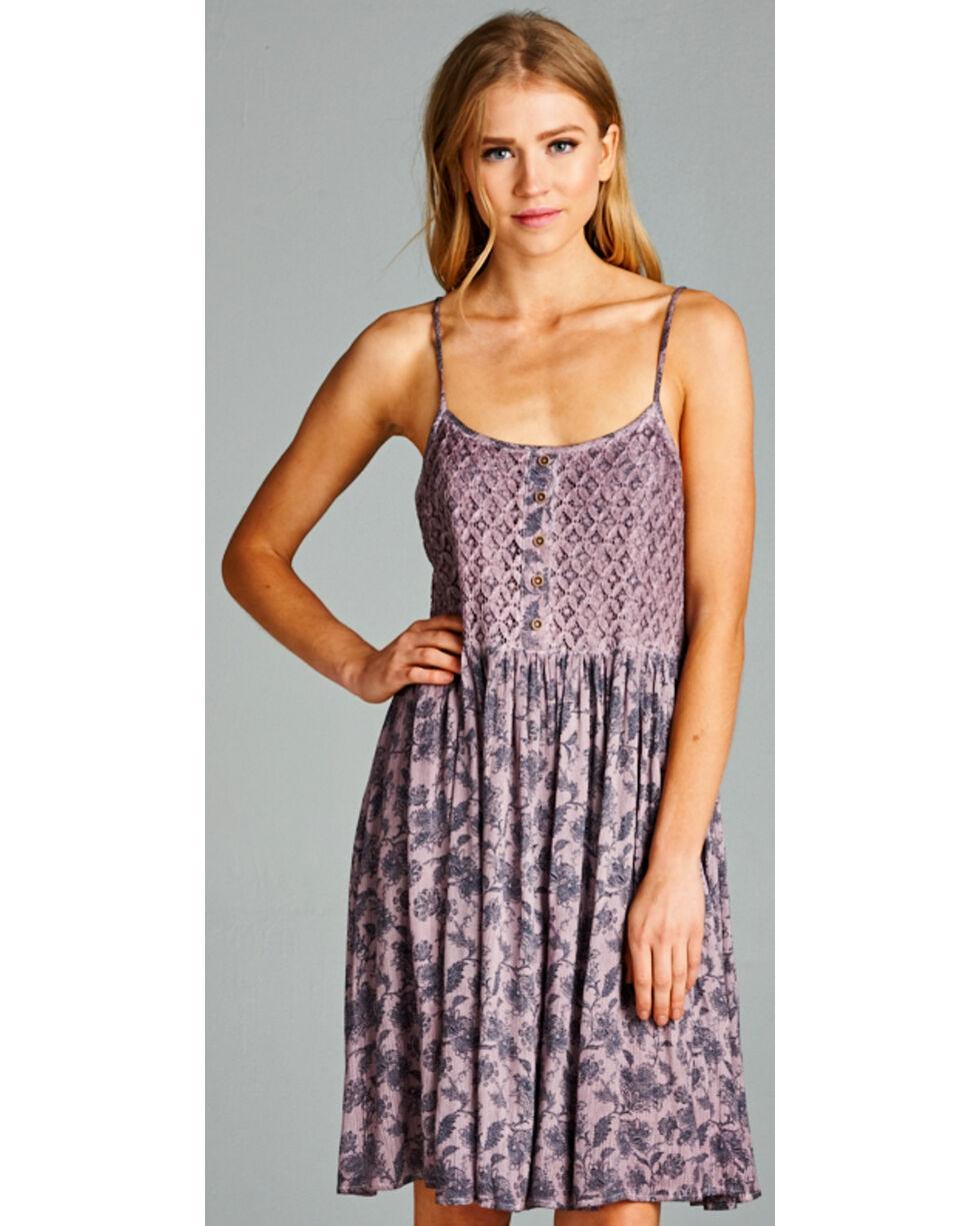 Hyku Women's Mauve Sleeveless Print Dress, Mauve, hi-res