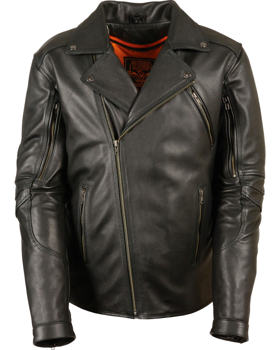 Milwaukee Leather Men's Triple Stitch Extra Long Biker Jacket - 4X , , hi-res