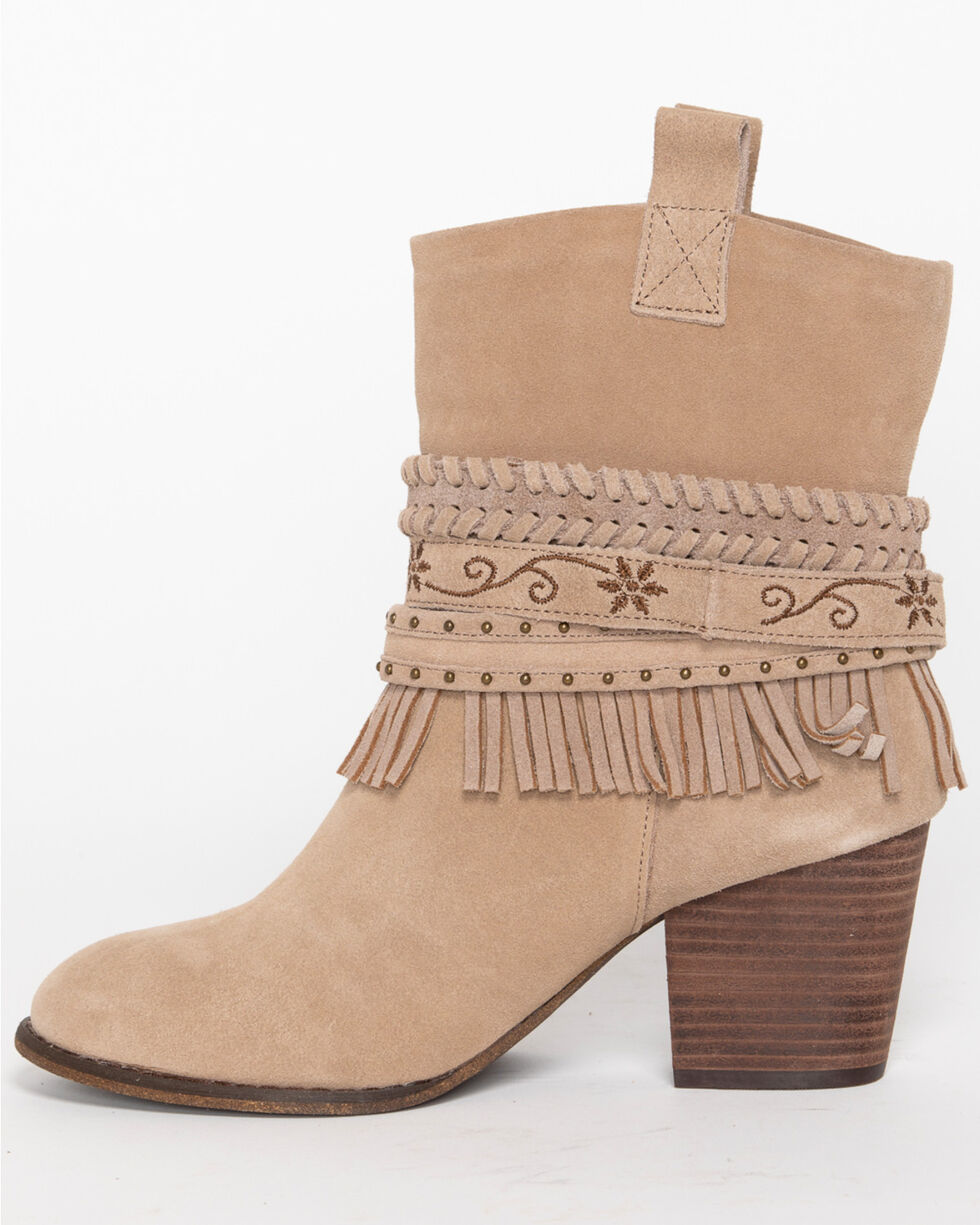 Shyanne Women's Ankle Strap Suede Booties - Round Toe, Brown, hi-res