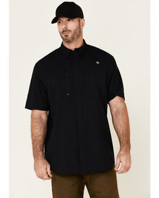 Ariat Men's Black Ventek Solid Button Short Sleeve Western Shirt - Tall , Black, hi-res