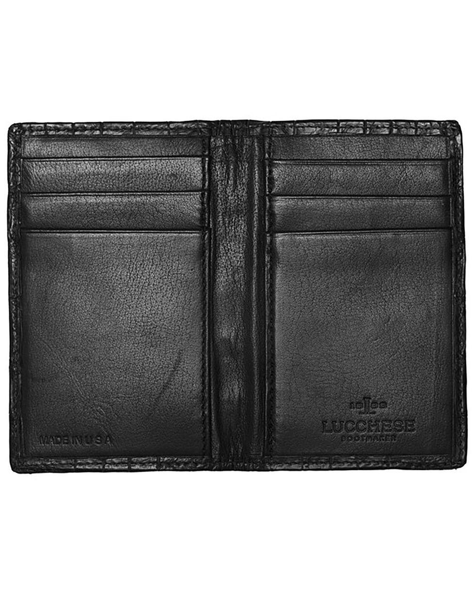 Lucchese Men's Black Genuine Crocodile Bi-fold Wallet, Black, hi-res
