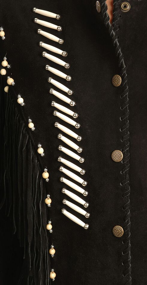 Liberty Wear Bone Bead & Fringe Leather Jacket, Black, hi-res