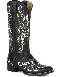 Stetson Women's Ivy Inlay Western Boots - Square Toe, Black, hi-res