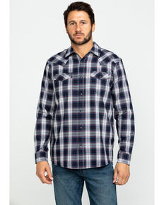 Cody James Men's Plainsman Heathered Plaid Long Sleeve Western Shirt , Grey, hi-res
