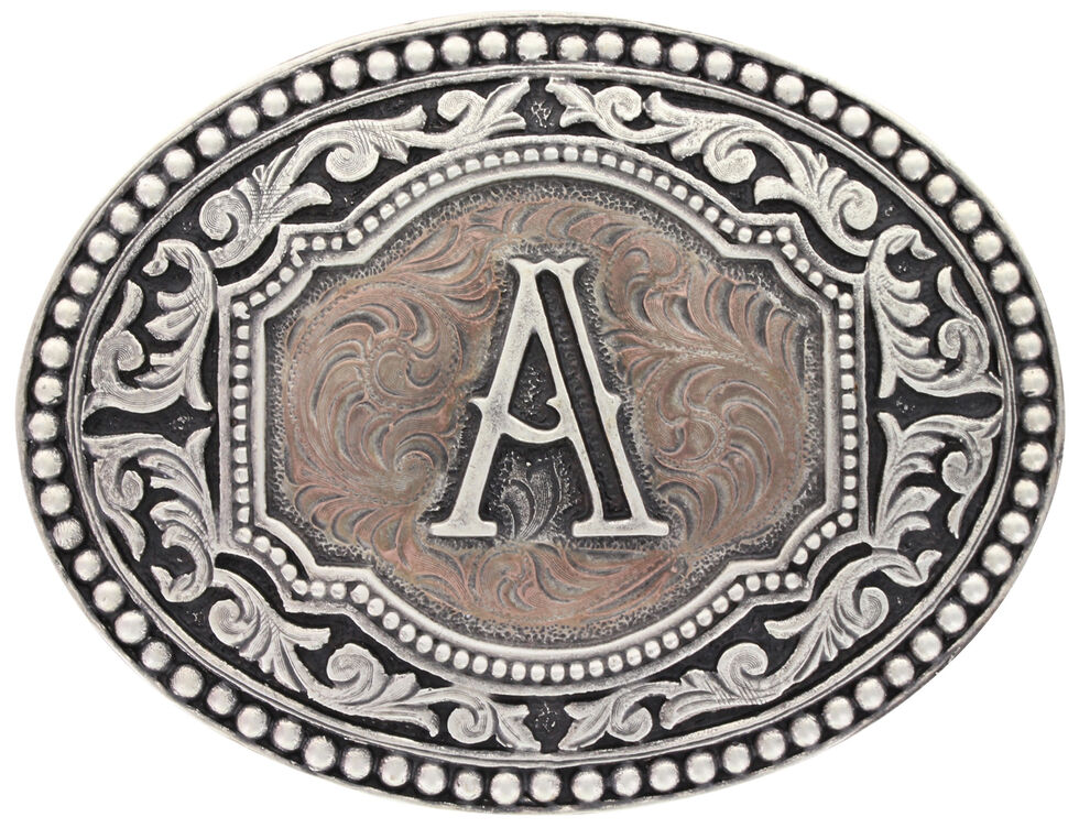 "Montana Silversmiths Initial ""A"" Two Tone Cameo Buckle , Silver, hi-res"