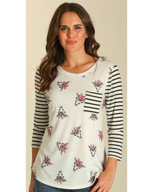 Wrangler Women's Skull and Stripe Print Shirt , Multi, hi-res