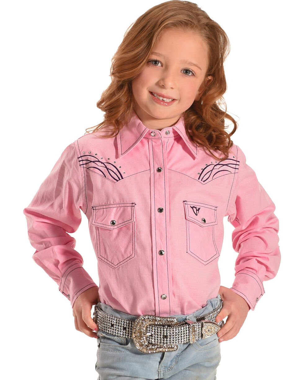 Cowgirl Hardware Girls' Horse Embroidered Burlap Print Long Sleeve Snap Shirt, Pink, hi-res