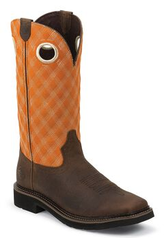 Justin Stampede Pull-On Work Boots - Square Toe, Brown, hi-res