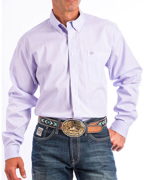 Cinch Men's Light Purple Stripe Long Sleeve Button Down Shirt, Light Purple, hi-res