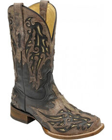 Corral Men's Black Bone Inlay Western Boots - Square Toe , Black, hi-res