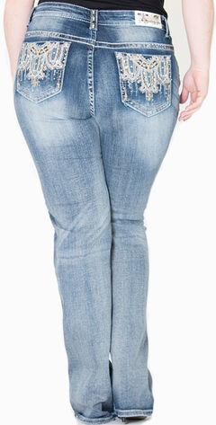 Gracein LA Embroidered Bootcut Jeans - Plus Size, Indigo, hi-res
