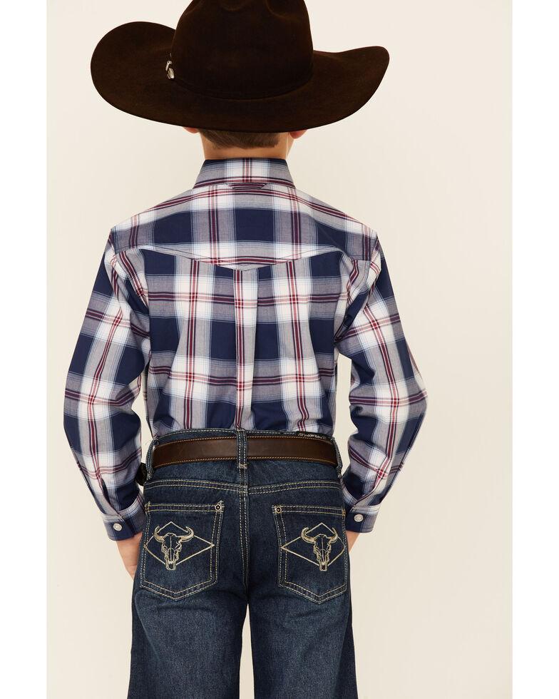 Roper Boys' Summer Blues Plaid Long Sleeve Button-Down Western Shirt , Blue, hi-res