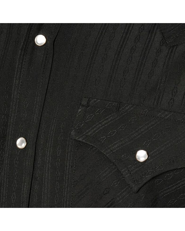 Ely Dobby Solid Western Dress Shirt, Black, hi-res
