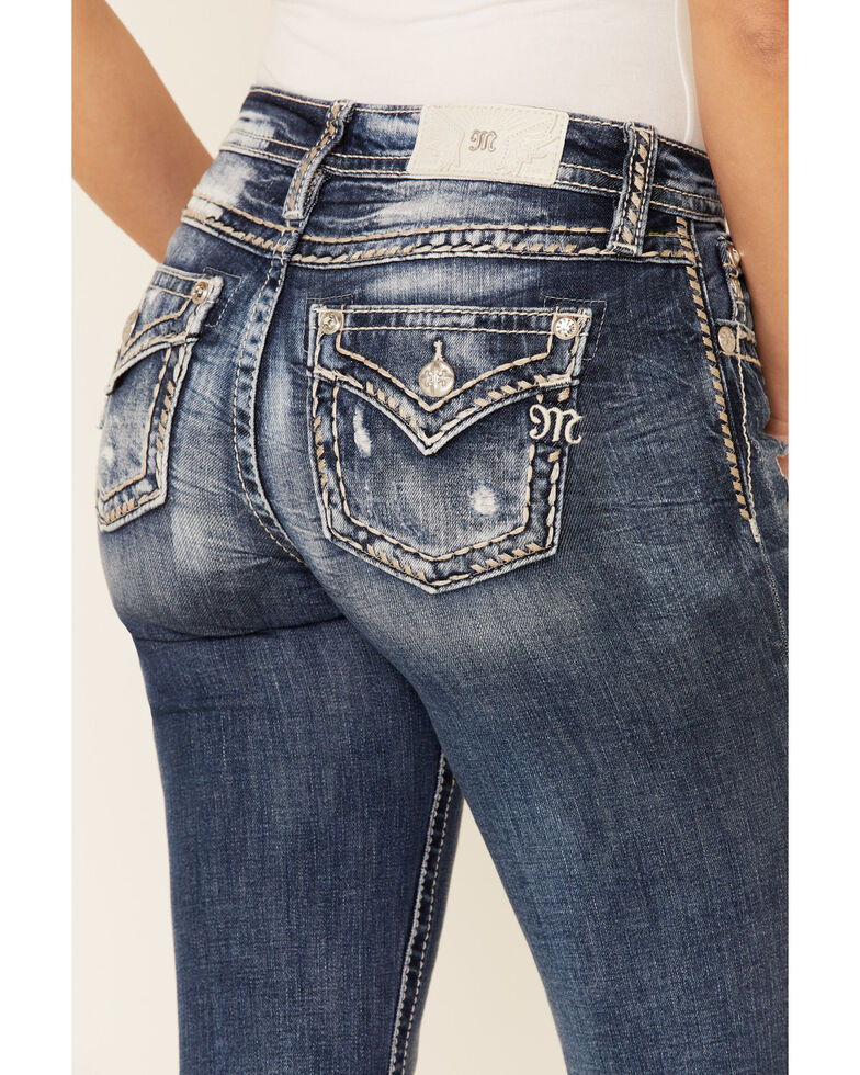 Miss Me Women's Chained Love Bootcut Jeans, Blue, hi-res
