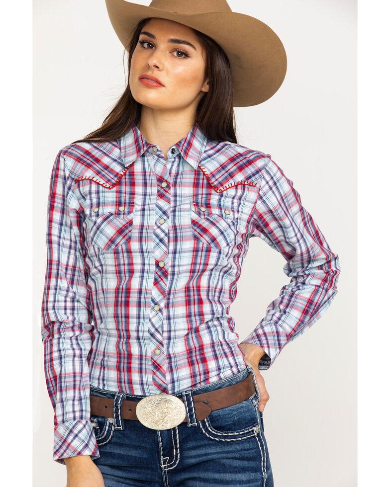 fa797f12 Zoomed Image Ariat Women's Blue Plaid Real Vibrant Snap Long Sleeve Western  Shirt , Multi, hi-
