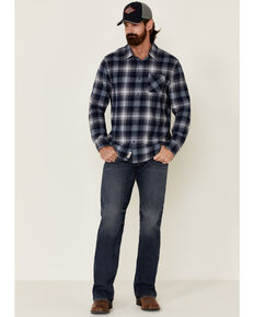 Flag & Anthem Men's Blue Eastlake Plaid Long Sleeve Western Flannel Shirt , Blue, hi-res