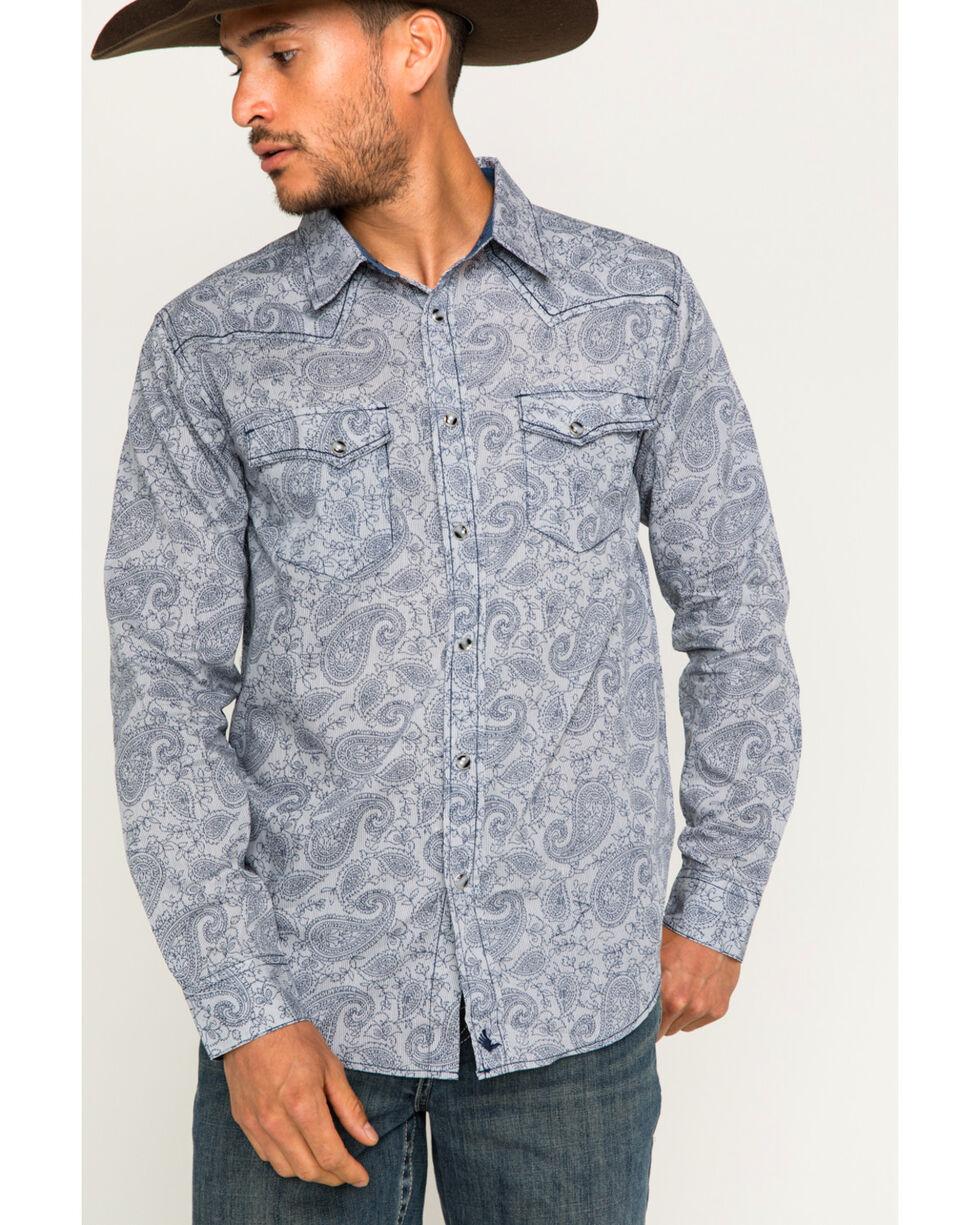 Cody James Men's Gangster Pinstripe Paisley Long Sleeve Western Snap Shirt, Navy, hi-res