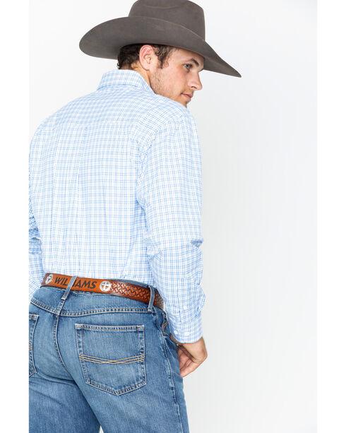 Wrangler George Strait Men's Blue Plaid Long Sleeve Button Down Shirt, Blue, hi-res