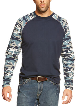 Ariat Flame Resistant Camo Baseball Long Sleeve T-Shirt, Navy, hi-res