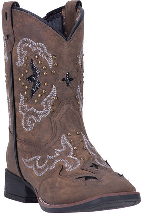 Laredo Girls' Spellbound Cowgirl Boots - Square Toe , Brown, hi-res
