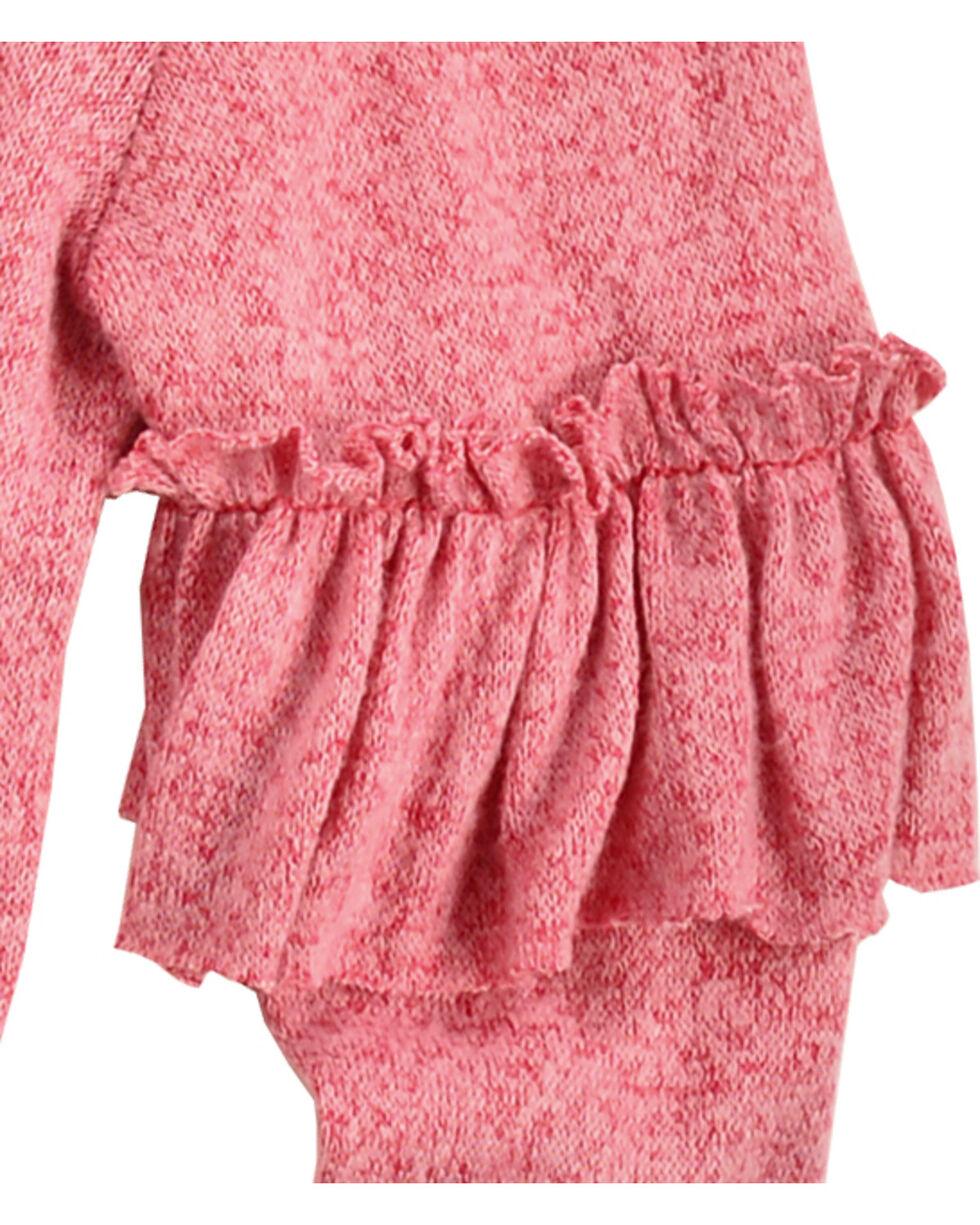 Derek Heart Girls' Pink Ruffle Detail Long Sleeve Sweater, Pink, hi-res