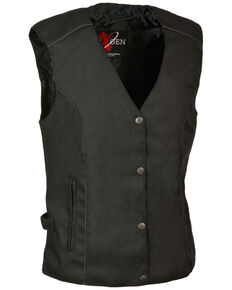 Milwaukee Leather Women's Stud & Wing Embroidered Vest - 5X , Black, hi-res