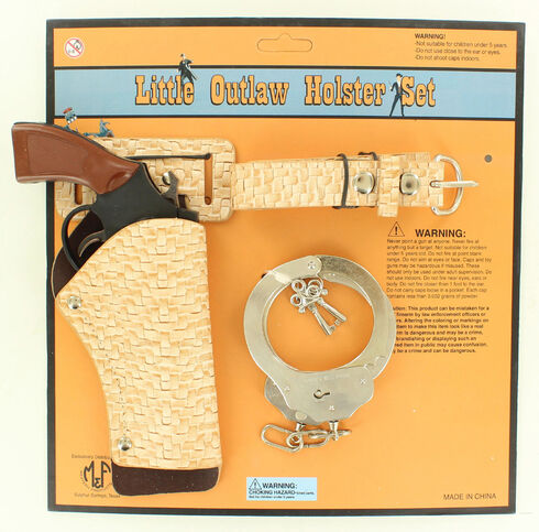 Little Outlaw Toy Gun, Holster and Handcuff Set, Natural, hi-res