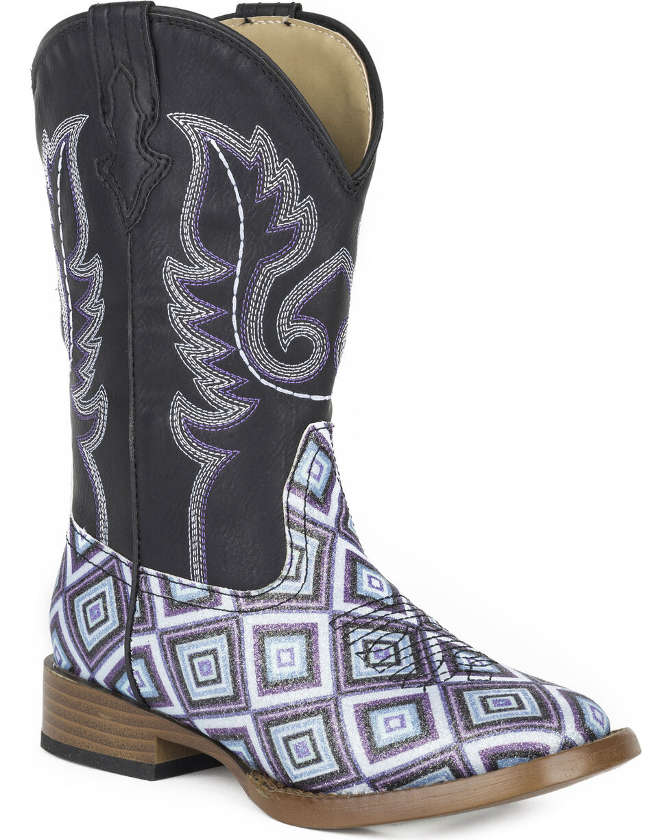 Roper Girls' Glitter Diamonds Western Boots - Square Toe , Black, hi-res