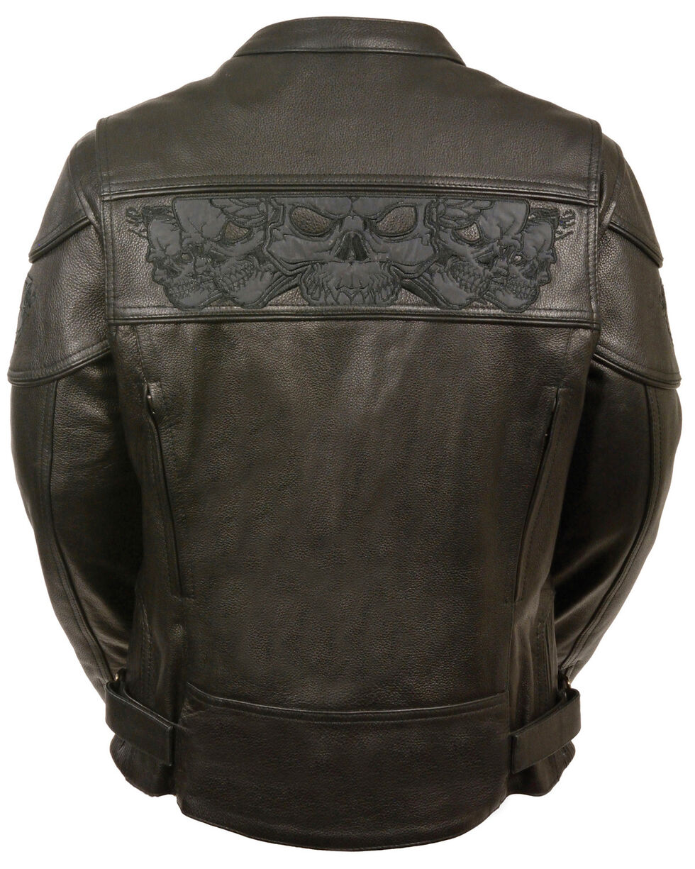 Milwaukee Leather Women's Reflective Skull Crossover Scooter Jacket - 4X, Black, hi-res