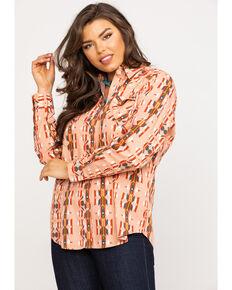 Wrangler Women's Blush Aztec Snap Long Sleeve Western Shirt, Coral, hi-res