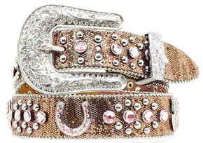 Nocona Kids' Rhinestone Studded Horseshoe Concho Belt, Brown, hi-res