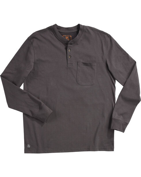 American Worker Men's Mason Pocket Henley Shirt - Tall, Charcoal, hi-res