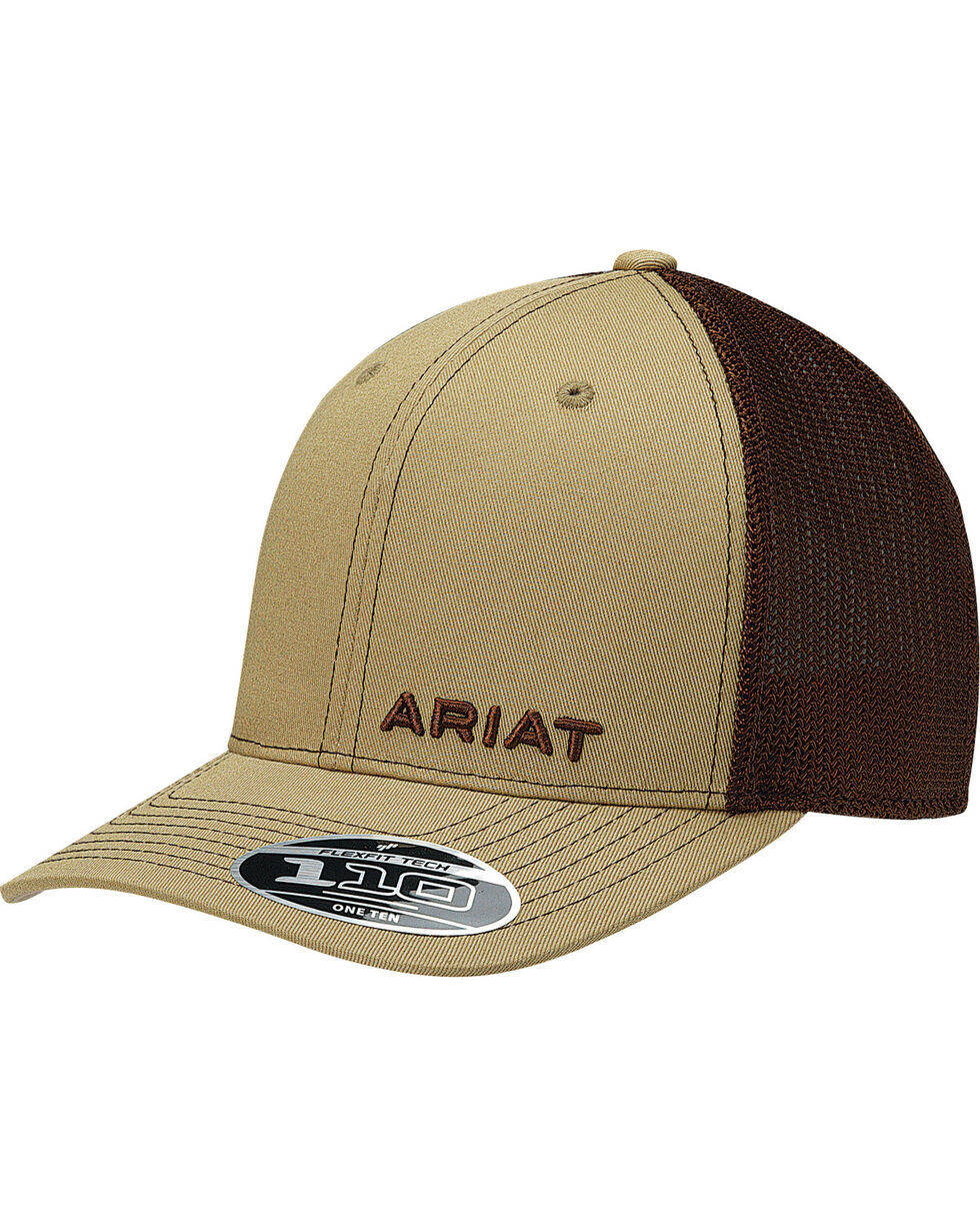 Ariat Men's Tan Offset Text Baseball Cap , Tan, hi-res
