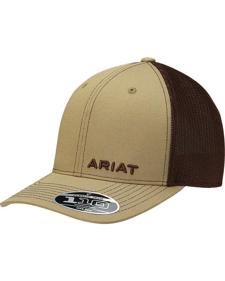 Ariat Men's Tan Offset Text Baseball Cap , Tan, hi-res