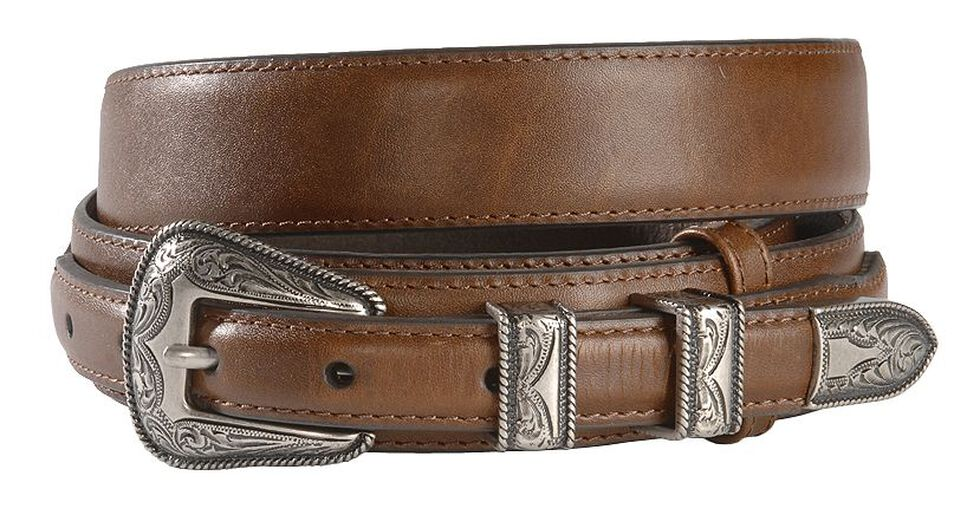 Nocona Leather Billet Overlay Ranger Belt, Brown, hi-res
