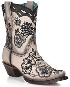 Corral Women's Embroidery & Stud Booties, Cream/black, hi-res