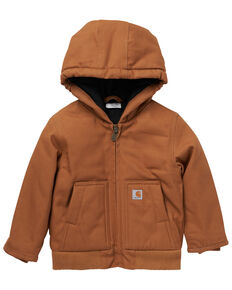 Carhartt Boys' Brown Hooded & Insulated Active Jacket, Brown, hi-res