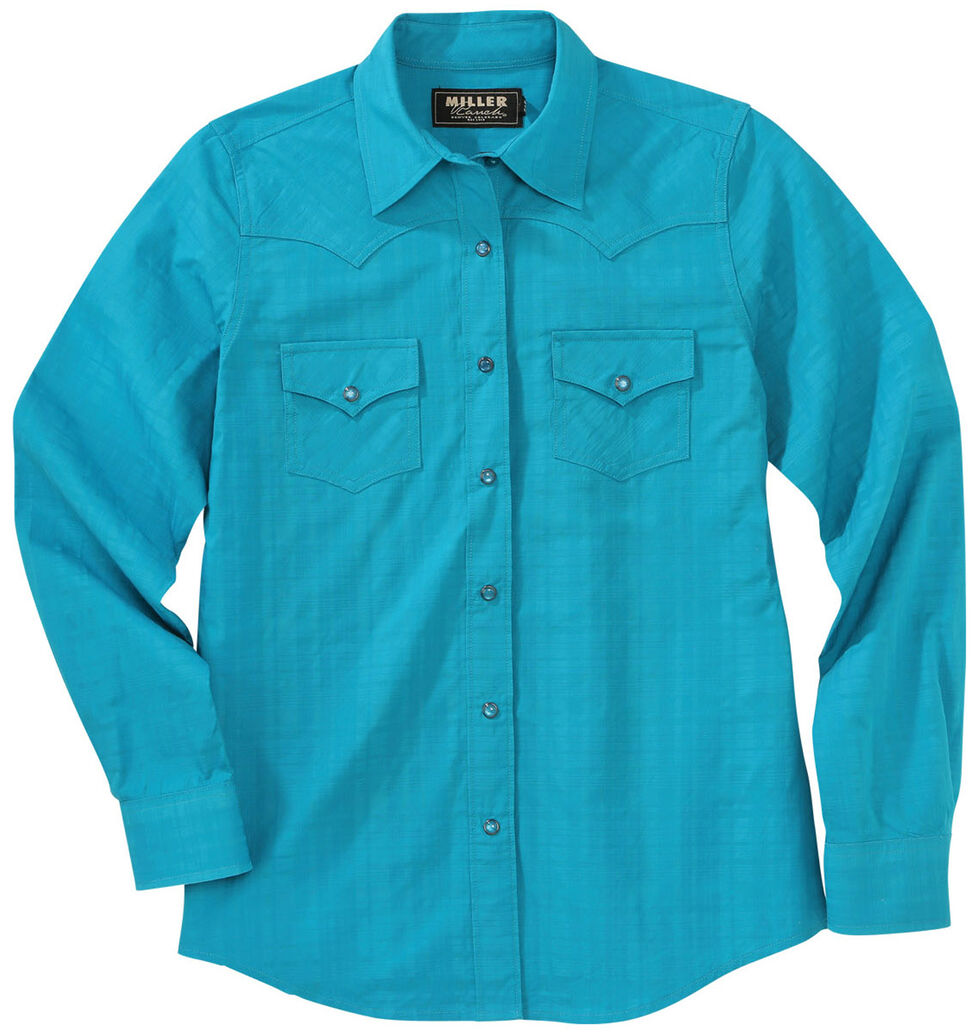 Miller Ranch Women's Teal Plaid Dress Shirt, Teal, hi-res